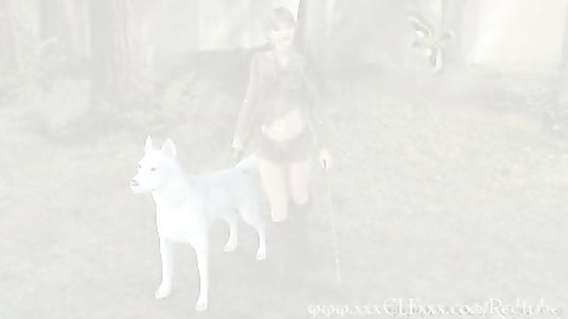 3D порно хентай с девушкой в лесу