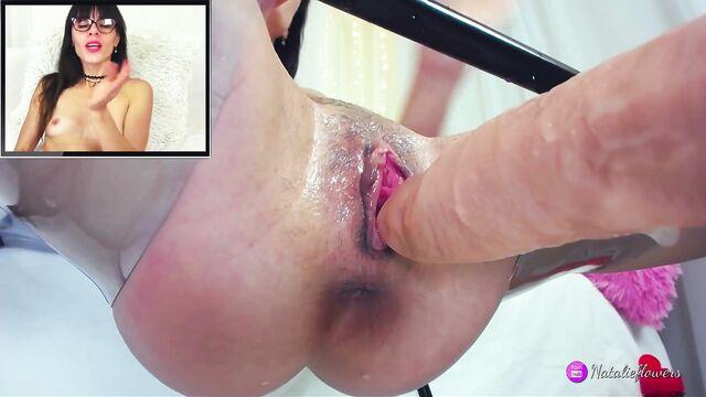 Худую брюнетку почти 40 минут молотит секс машина