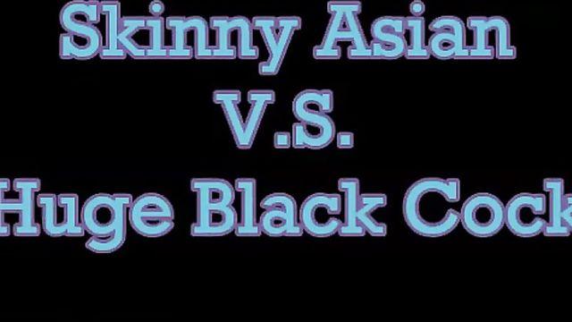 Худая азиатка и длинный толстый большой черный член